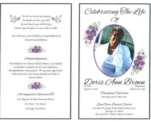 Doris Ann Brown Obituary