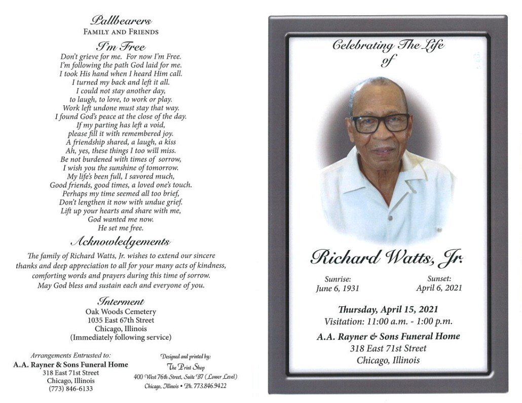 Richard watts Jr Obituary
