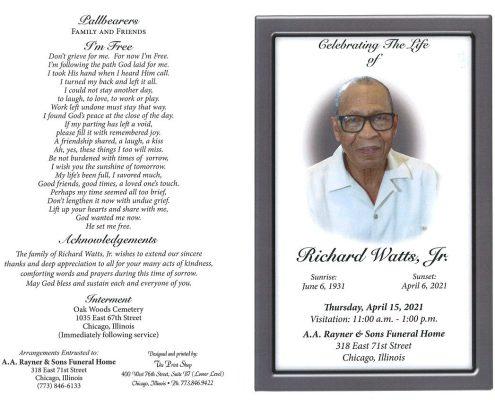 Richard watts Jr Obituary