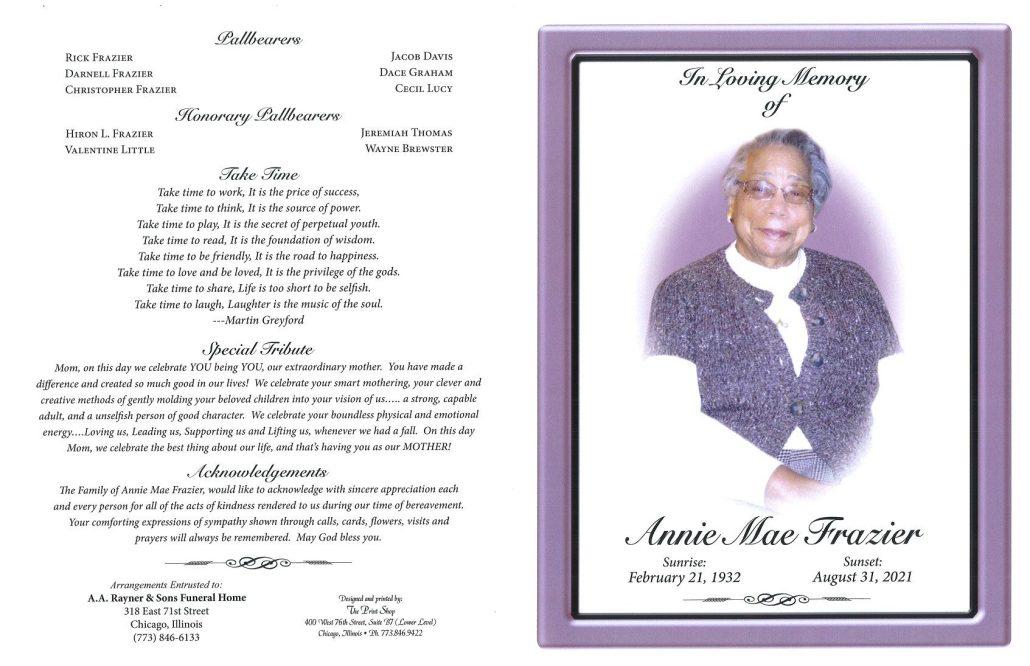 Annie M Frazier Obituary