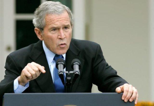 George W. Bush in the Rose Garden
