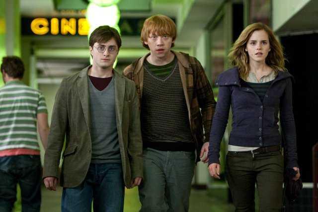 Harry, Ron en Hermione.