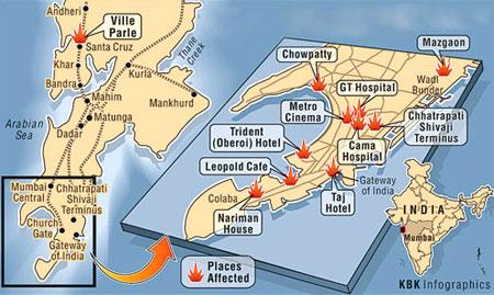 Mumbai aanslagen kaart