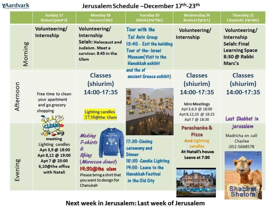weekly updates jerusalem december 15