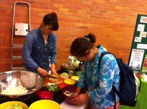 Blair Nosan from Hazon Detroit taught 40 people how to make sauerkraut.