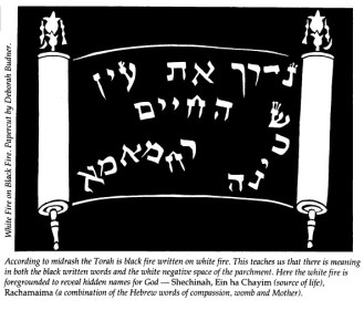 """Paper cut illustration by Deborah Eisenbach-Budner from Spring 1991 issue of Bridges in article """"Our Lives are the Text,"""" by Rabbi Rebecca Alpert."""