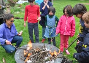 We made a bonfire and roasted potatos and s'mores.