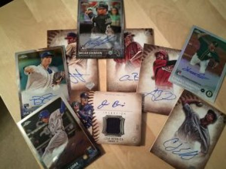 Autographed baseball cards from the Bowman and Topps baseball card boxes
