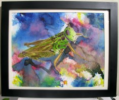 Living Creatures Series- Smiling Grass Hopper, 2009, water color paints and pencils on high Gsm Paper, By Aaron O'Brien. Sold