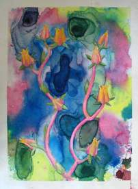 Suclents 2, 2009, water color paints and pencils on high Gsm Paper, By Aaron O'Brien. For Sale