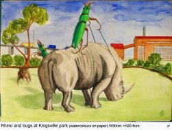 Bug riding Rhino, 2007, water color paints and pencils on high Gsm Paper, By Aaron O'Brien. For Sale