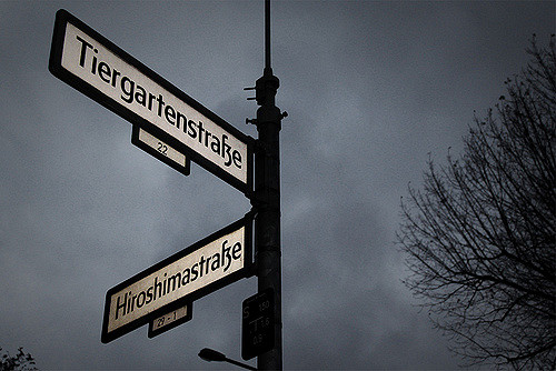 Color photograph of street sign of Tiergartenstrasse and Hiroshimastrasse. Holocaust fiction by Aaron David Yeoman