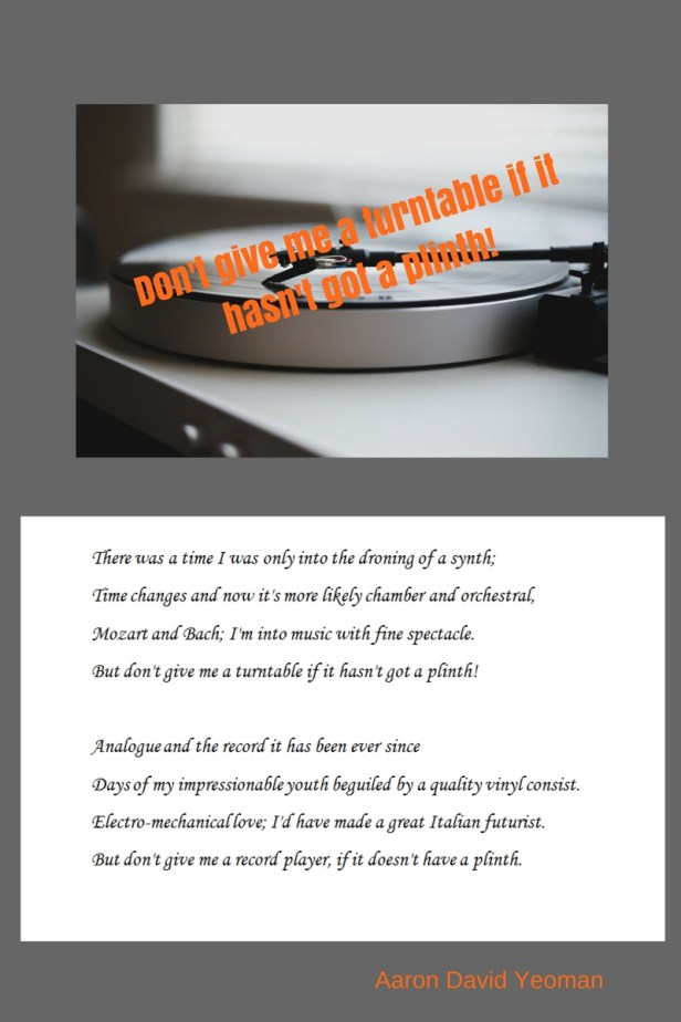 Colored graphic on gray background with black and white photograph of turntable and poem on white background .Aaron Yeoman, Author