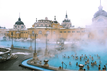 visit budapest in Winter, snow, szechenyi bath, szechenyi bath in winter, turkish bath, tourist spot, roman architecture