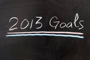 a chalkboard with 2013 Goals written on it