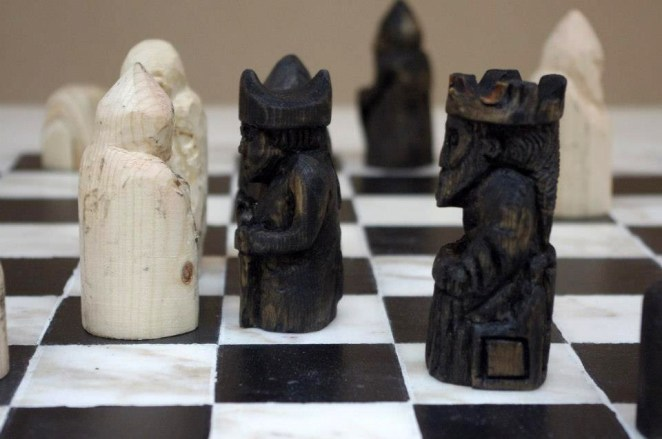 Chessmen (after the Lewis chessmen). Carved wood. 2012.