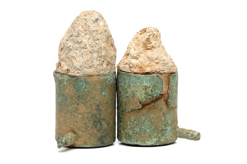 Excavated pinfire cartridges recovered from the ground in Brunswick, Maryland