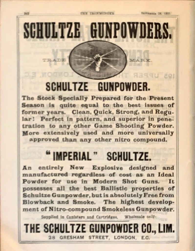 Schultze Gunpowders ad in The Ironmonger