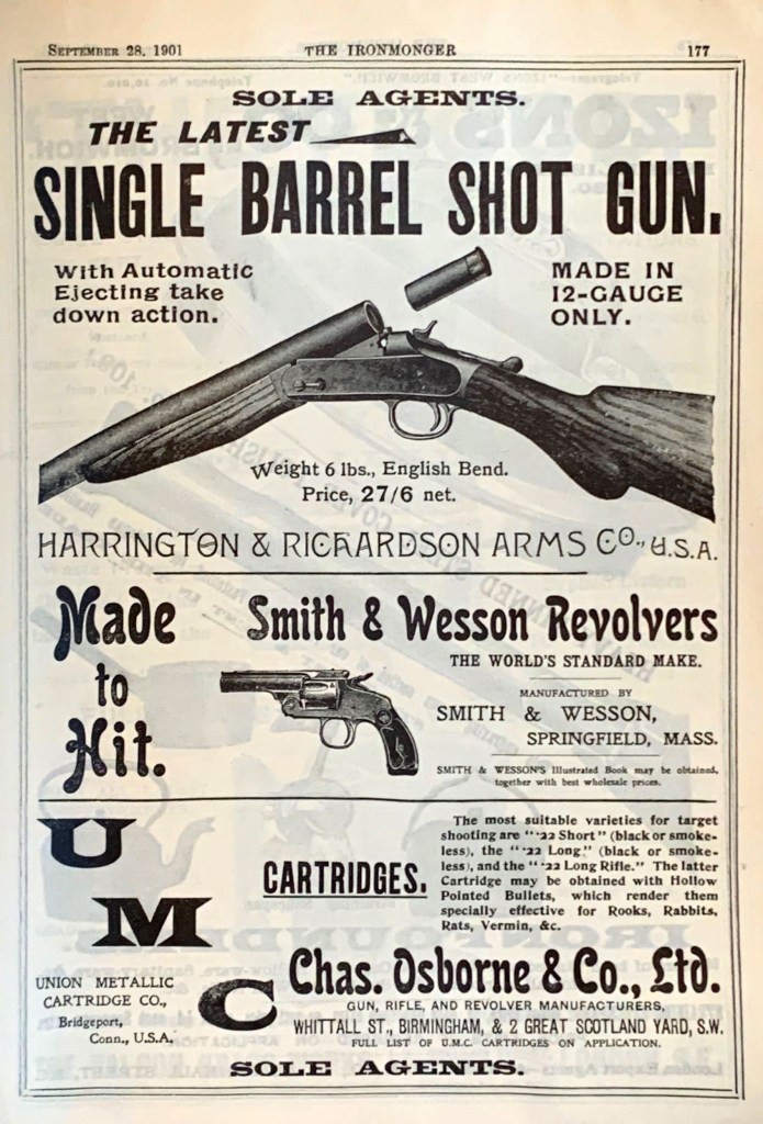 UMC and Harrington & Richardson Arms Co and Smith & Wesson ads in The Ironmonger