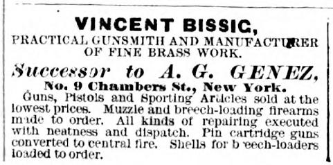 Vincent Bissig Practical Gunsmith 1880 ad