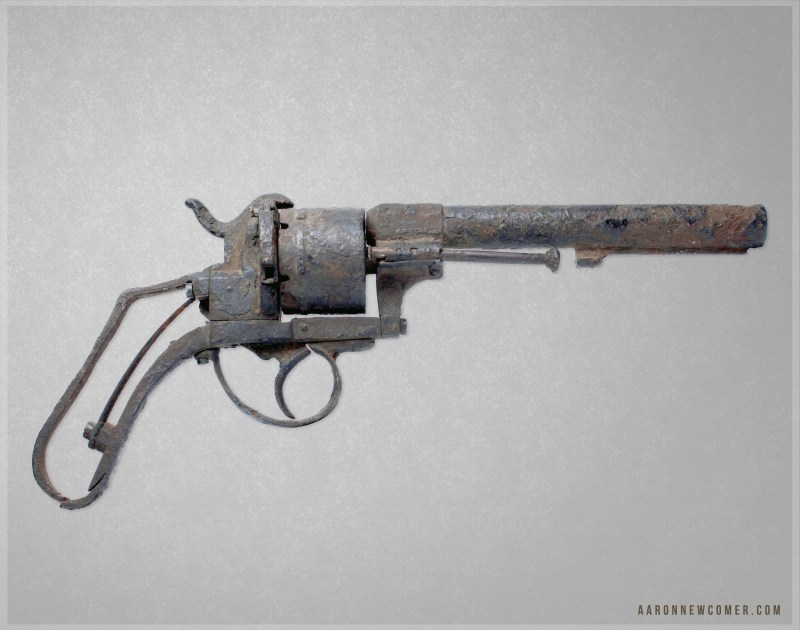 Excavated 12mm pinfire revolver recovered from the sand in Beaufort, South Carolina