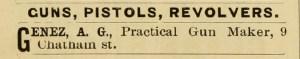 Genez, A. G., Practical Gun Maker, 9 Chatham St