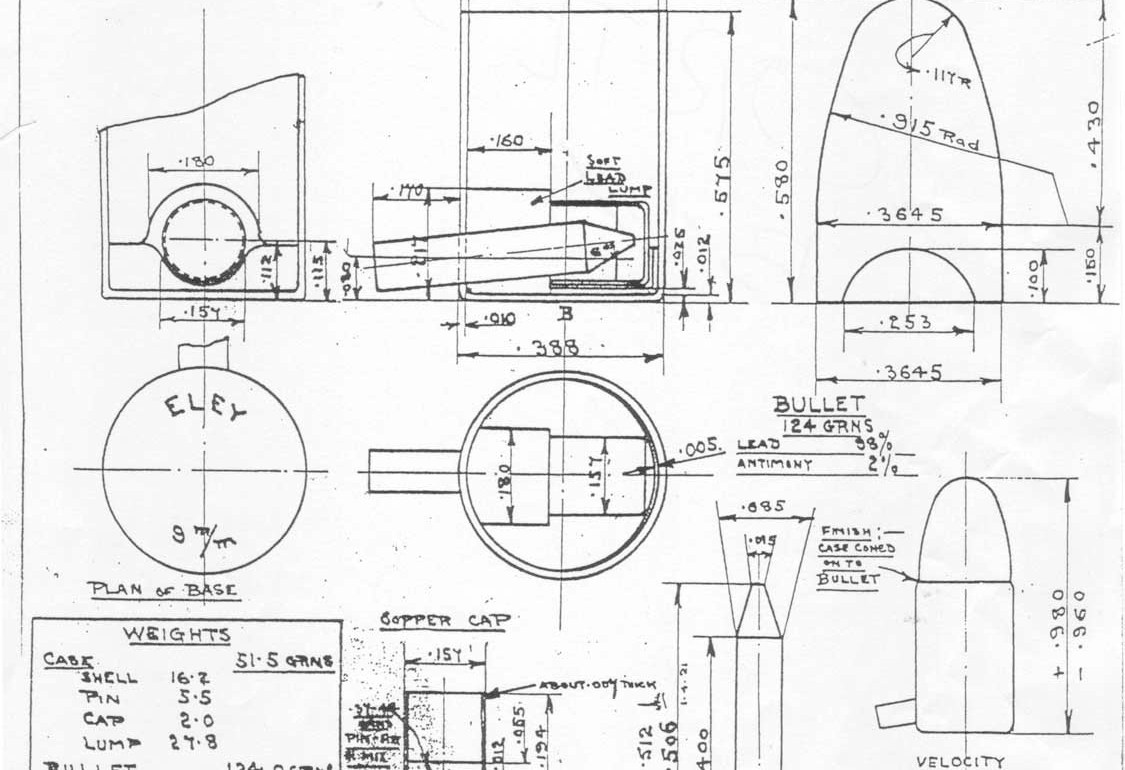 Eley Bros Factory Drawings for Pinfire Cartridges