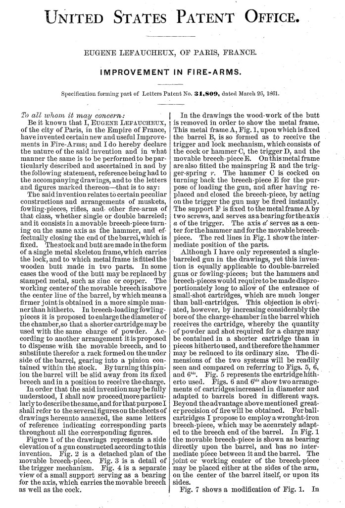 Eugène Lefaucheux US patent number 31,809 on 26 March 1861 - Page 1
