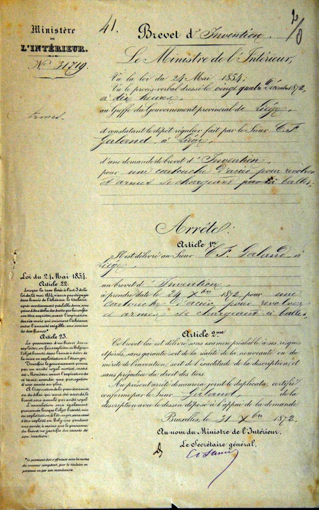 Page 1 of Galand Patent for reloadable steel cartridges from 31 December 1872