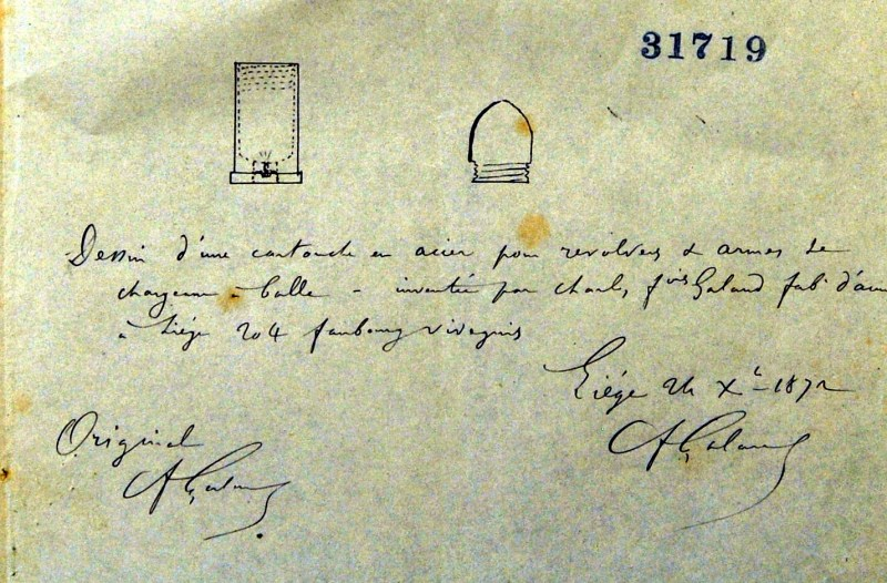 Drawing Page of Galand Patent for reloadable steel cartridges from 31 December 1872