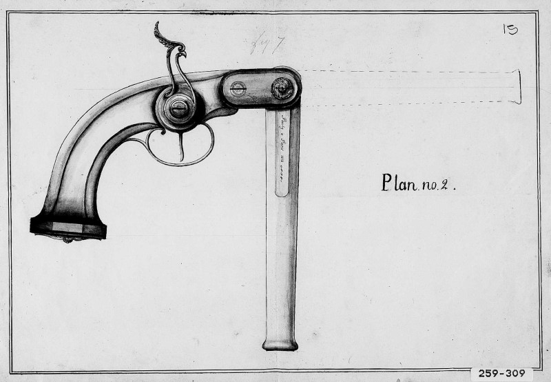 Image of Pauly Pistol assigned to the 1812 Pauly Patent by the FrenchNational Institute of Industrial Property