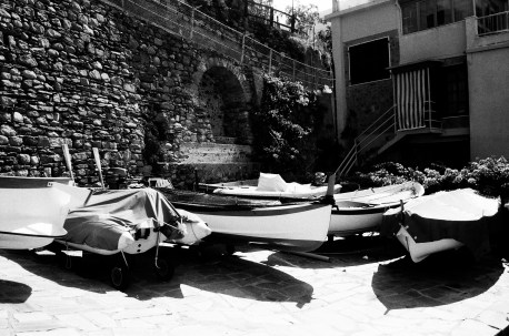Boats in the piazza of the harbor