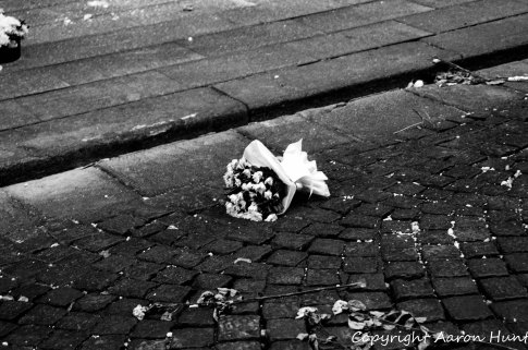 Bouquet of flowers laid near the tragic spot.