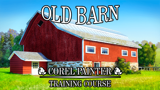 old barn landscape painting course for corel painter
