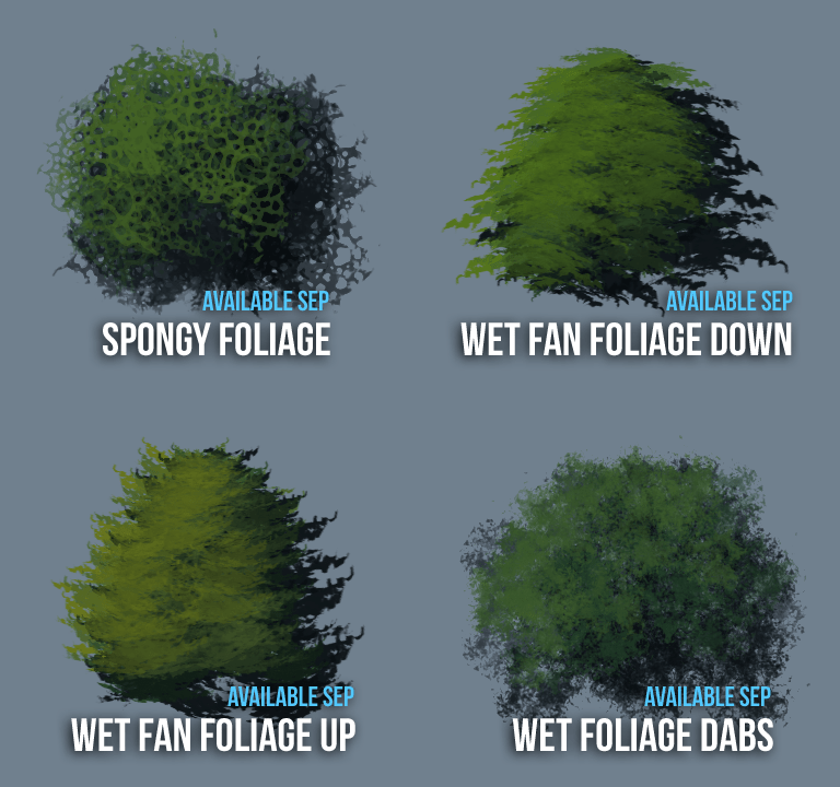 preview of september 2020 foliage photoshop brushes