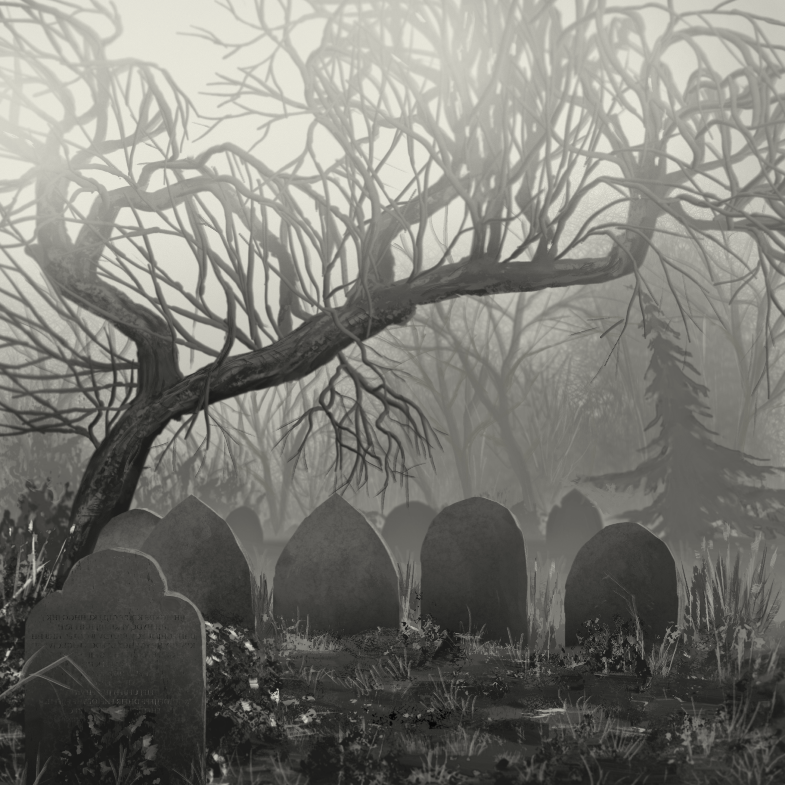 graveyard halloween painting made with corel painter 2021