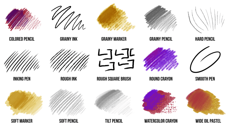 pencils, pens and crayons brush pack for photoshop and fresco preview