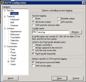 PuTTy Logging capture settings.