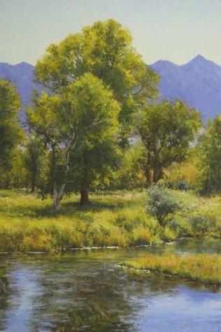 """Creekside Cottonwood"" 36x24. Pastel."