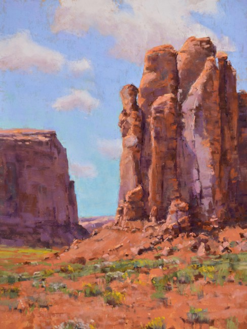 """""""Midday at Monument Valley"""" 16x12. Pastel."""