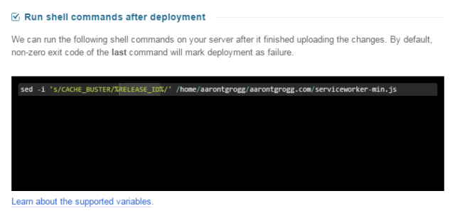 Sample shell command DeployBot can run after deployment completes.