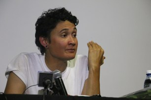 Leigh Ann Naidoo tells her story after her release from Israeli forces, Photo: Aarti Bhana