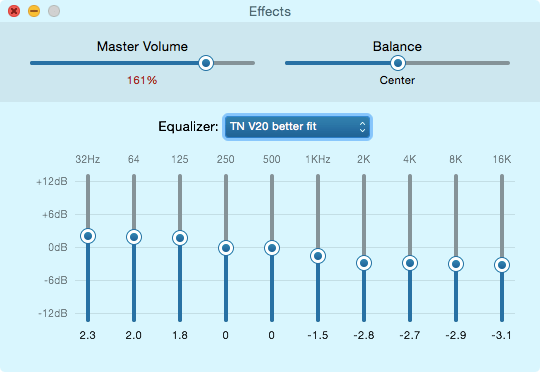 TRN v20 review EQ setting