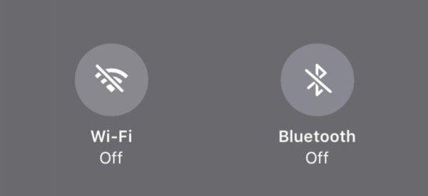 wifi bluetooth icoon aan uit wit grijs blauw