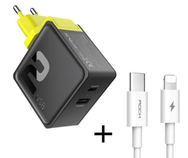 USB-C oplader met USB + USB-C + Lightning kabel + 31W