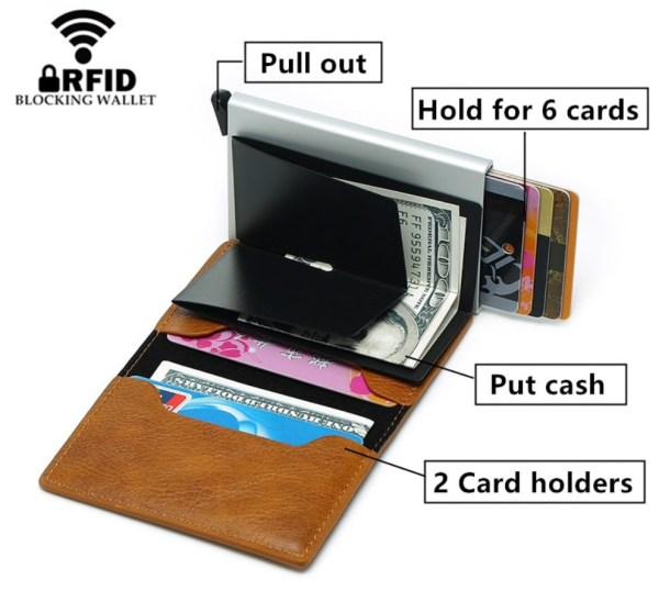 leren portemonnee met ingebouwde aluminium RFID antidiefstal bescherming
