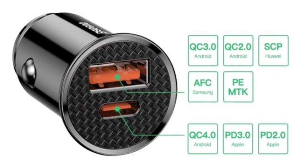 sigaretaansteker oplader 30w 5a car charger usb type c usb-c sigaretlader auto