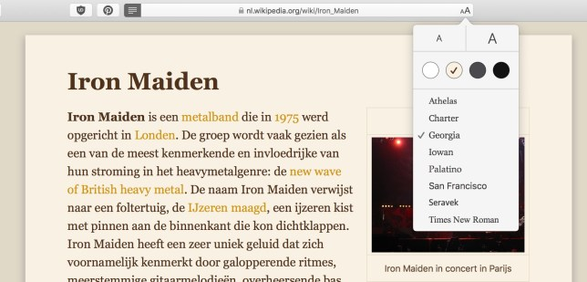 reader weergave safari Mac OS lettertype lettergrootte thema
