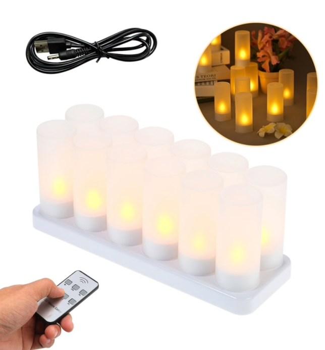 LED kaarsen theelicht oplaadbaar USB afstandsbediening