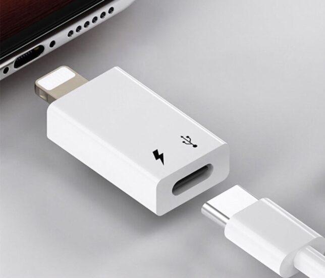 Die DAC kan ook op een iPhone met dit verloopje